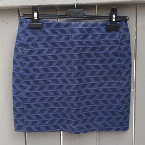 Sezane x La Redoute Blue Patterned Skirt Size 6